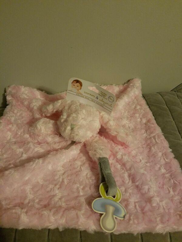 Blankets & Beyond Pink Swirled Puppy Dog Security Blanket Nunu Pacifier Holder