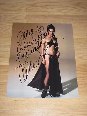 Princess Leia Carrie Fisher Signed 8x10 Sexy Slave Girl Photo/1 Leah To Another