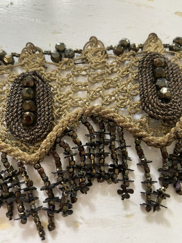 Ornate Antique French Victorian Bronze~gold Metalwork Trim Beaded Scallop Fringe