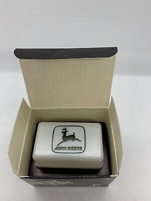 John Deere White Plastic Plug In Night Light Black 1968 Logo Box NOS Vintage