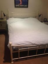 Vintage-style cream metal queen bed plus mattress South Yarra Stonnington Area Preview