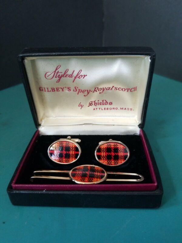 VINTAGE CUFF LINKS & TIE BAR GILBEYS SPEY ROYAL SCOTCH LIQUOR ADVERTISING 1950s