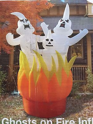 Last Huge Halloween 10' X 10' W Ghosts On Fire Lighted Airblown Inflatable
