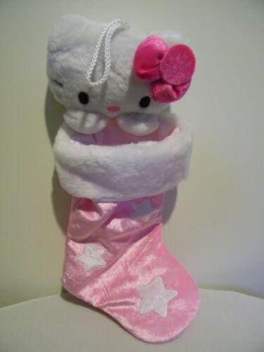Hello Kitty Plush Head Pink Stars Christmas Holiday Stocking 2009