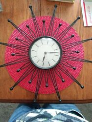 Sterling & Noble Wall Clock Mid Century Modern Black 17 Starburst Ball Tips VGC