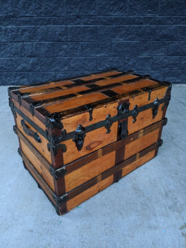 Antique Steamer Trunk Large 32 Inch Victorian Flat Top Pine Chest  C1895