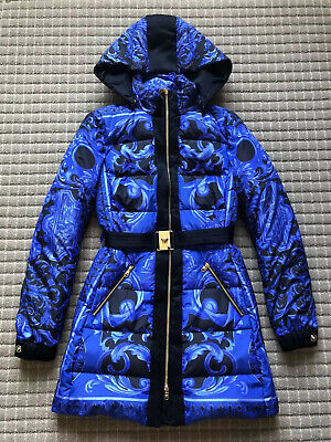 NEW!! Gianni Versace Goose Down Quilted Belted Coat Jacket Black Blue Print 38