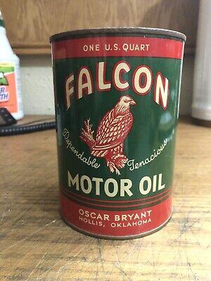 NOS Falcon One Quart Metal Motor Oil Can Gas Service Station Hollis OK Empty