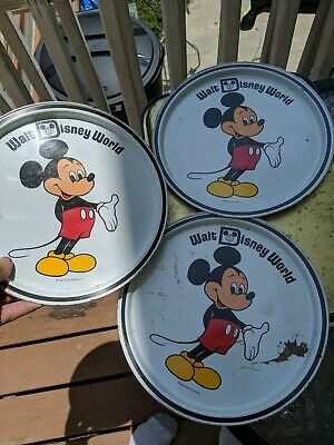 Three (3) Vintage MICKEY MOUSE Tin Serving Trays Walt Disney Productions