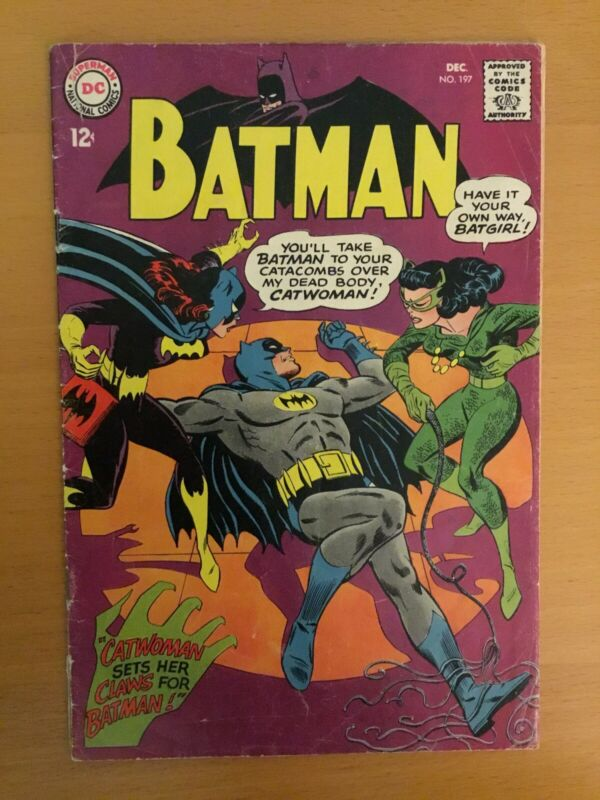Batman #197  VG (Dec 1967, DC) *THE CLAWS ARE OUT! CATWOMAN VS. BATGIRL! MEOUCH*