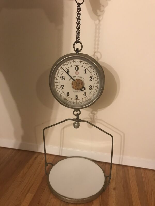 VINTAGE NY SCALE CO DOUBLE-SIDED 30 LB ANTIQUE HANGING SCALE - GREAT CONDITION