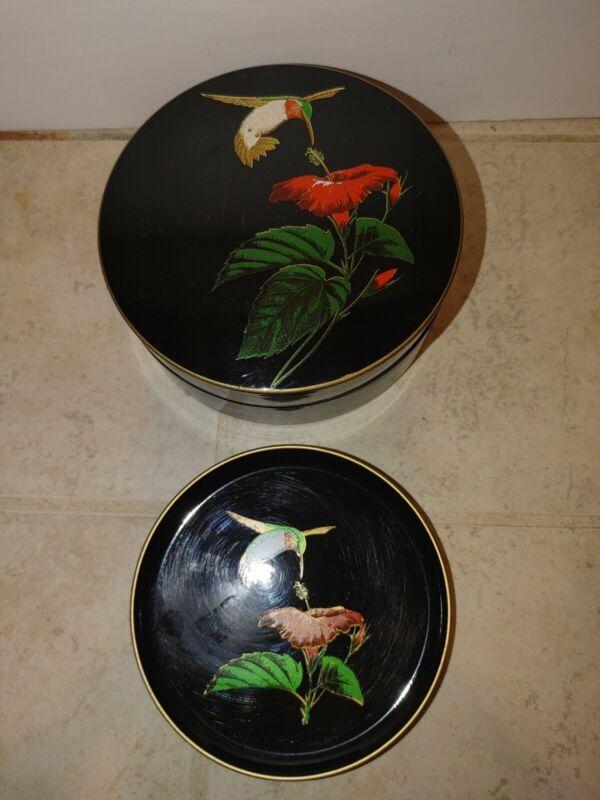 Otagiri coasters Vintage Japan Hummingbird Black 6 pc  Plastic Bird Floral MCM