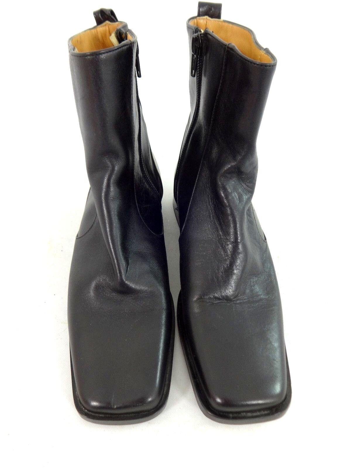c3ff629ccb καλογηρου WOMENS BLACK LEATHER SIDE ZIP BOOTS SIZE 5.5 M SUPER CUTE NWOB