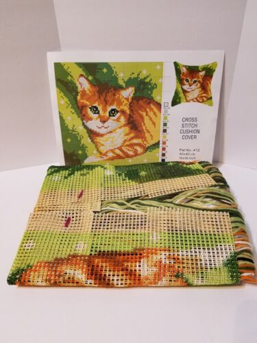 "Vervaco Hanging Kitten Cat Chunky Cross Stitch Needlepoint 16/"" Pillow Top Kit"
