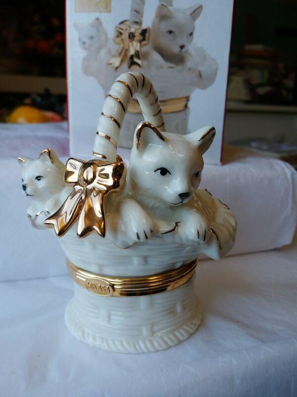 Mikasa Porcelain Hinged Trinket Box Kittens in Basket Holiday Elegance