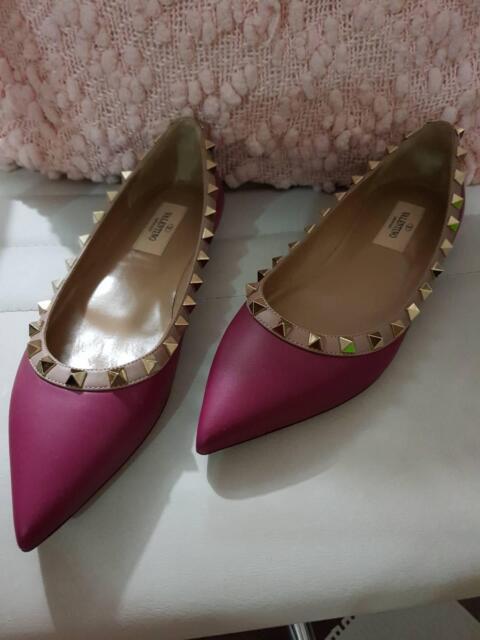 ec3e1f766545 Valentino rockstud flats magenta purple in matte leather size 35 ...
