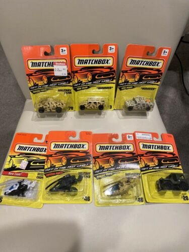 Lot Of 7 Matchbox Military Hummers Jeep Choppers New Sealed Mint On Card - $24.95