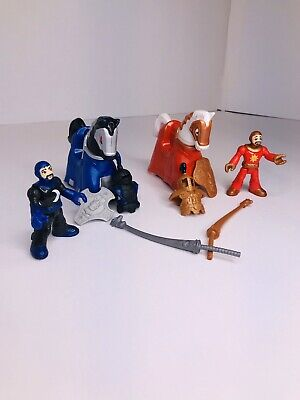 2 Fisher-Price Imaginext Jousting Knights With Horse's & Accessories! Pull-Horse
