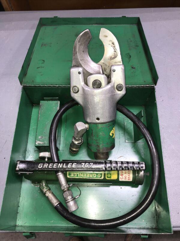 GREENLEE 750 751-M2 HYDRAULIC CABLE CUTTER W/ 746 RAM - 767 HYDRAULIC HAND PUMP