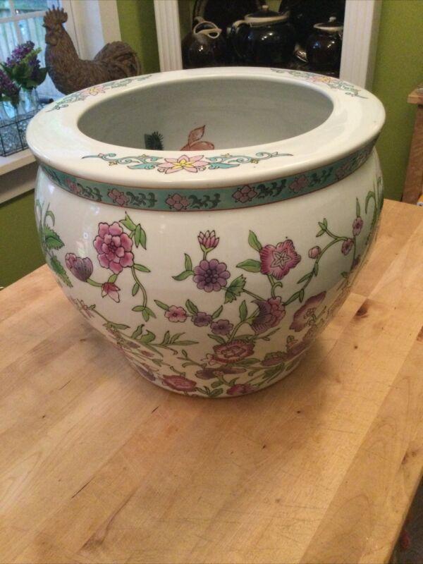 "Vintage Chinese 12"" Koi Fish Bowl Planter Jardiniere Marked Rose Purple White"