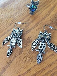 Owl earrings and ring