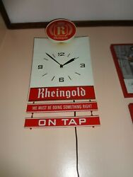 Vintage Rheingold Beer Lighted Wall Clock with Signs