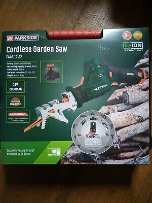 Parkside 12V Garden/Sabre Saw (PAAS 12 A2) +2Ah Battery & Charger, 3 Yr Warranty