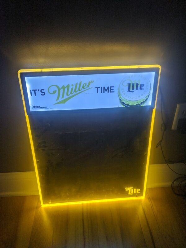 Large Miller Lite Beer Light Up Dry Erase Bar Sign Message Board Back Lit Sign