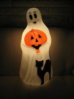 "Vintage Empire Ghost Black Cat Pumpkin Halloween 35"" Plastic Blow Mold Light"