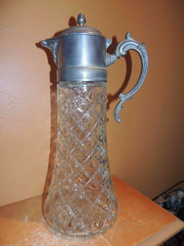 "Large Pressed Glass Carafe/ Claret 14"" Silver Plate Art Deco Pitcher Vintage"