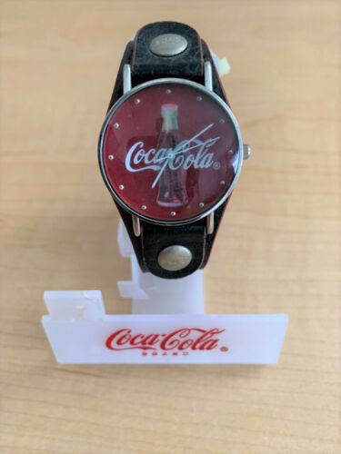 New Coca-Cola Quartz Watch With Faux Black Leather Band