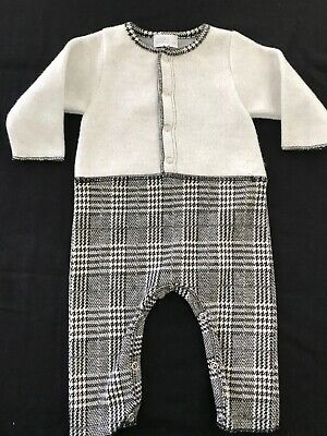 Violeta E Federico (Spain) NWOTblack/Grey Plaid Knit Longall - 3 -6 Months