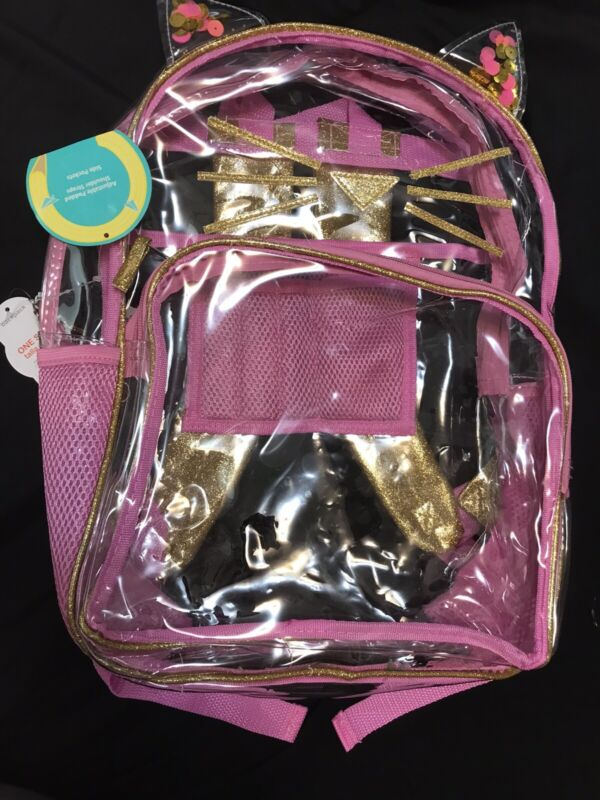 """Clear Pink Kitty Cat 16"""" Backpack"""