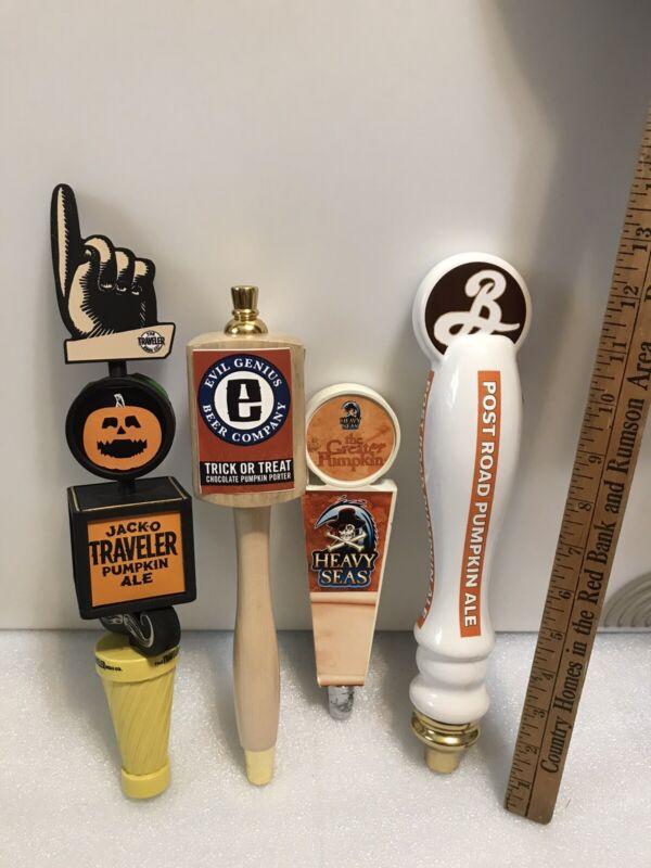 HALLOWEEN SET OF 4 AMERICAN BREWERY draft beer tap handles. USA