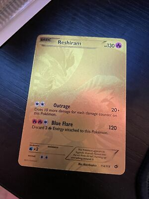 Reshiram 114/113 Legendary Treasures Gold Full Art Secret Rare - NEAR MINT
