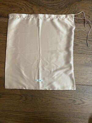 "PRADA Tan/Blush Silk Dust Bag Drawstring Shoe Travel Cover Storage 13"" X 14"""