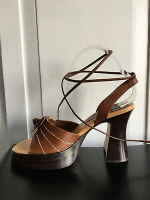 6af860f1db Anthropologie Brown Seychelles Flower Sandals Heels Ankle Tie Shoes Size 8  US for sale Clermont