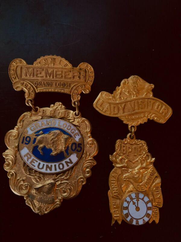 "BPOE Elks Memorabilia-1905 Buffalo Reunion-very rare ""Pair""(Member and his Lady)"