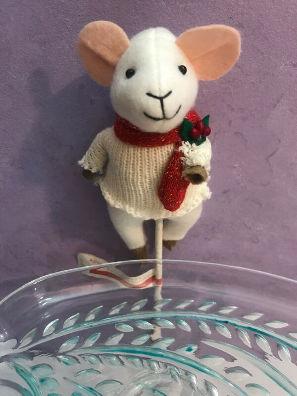 Merry Christmouse holding Stocking On Stick ~ Christmas Mouse Holiday Decoration