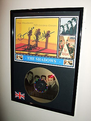THE SHADOWS  SIGNED FRAMED GOLD CD DISPLAY 4