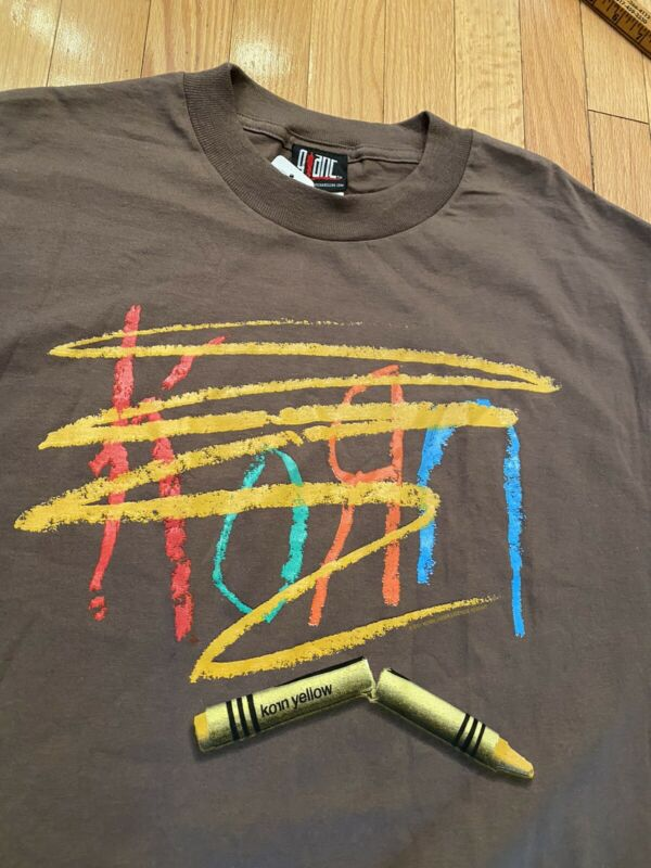Vintage 2001 Korn Concert T Shirt Crayon Logo Metal Band Giant Brand Rare! NWT M