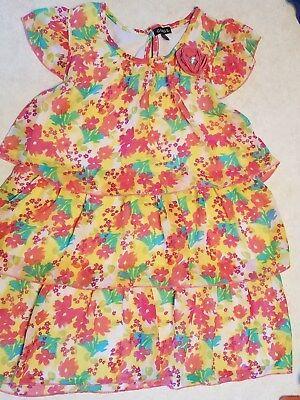 Girls TUNIC Top Dress Floral Tier Ruffles Size XL 14-16 VGUC - Girls Tunic Dresses