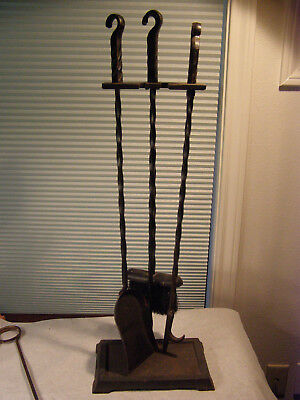 Vintage Wilshire Wought Iron Fireplace Tool Set ~ Arts & Crafts ~ Twisted Iron