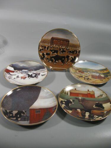 5 American Folk Art Plates Cows Franklin Mint