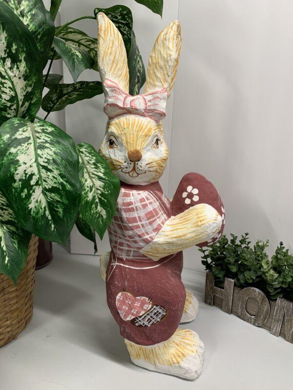 "Vintage Extra-Large Easter Bunny Rabbit Decoration Papier Maché 23 1/4"" Tall EUC"