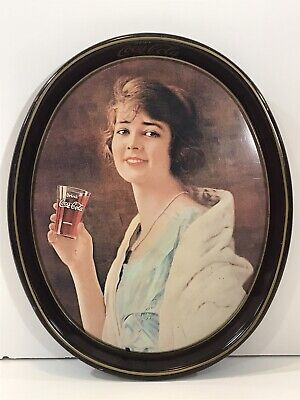 Vintage Drink COCA COLA COKE Metal TIN TRAY litho GIRL DRINKING GLASS 12.25x15
