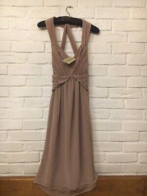 Burberry Silk Chiffon Dress, Size 8-10, Pale Nude