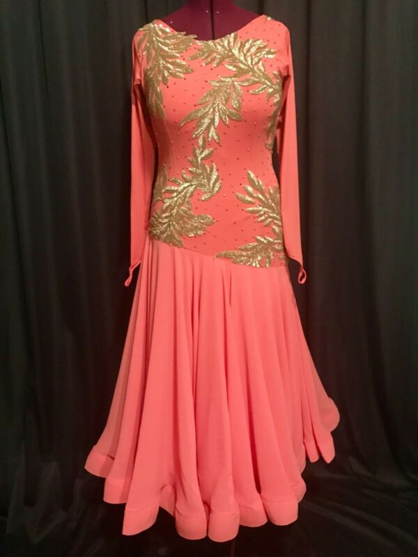 Je Bling Ladies Smooth Ballroom Competition Costume Coral w/Gold US Size Large