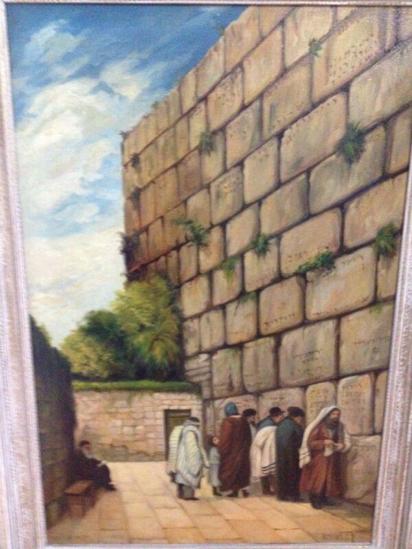 Rare Signed Pre Israel 20th Century Judaica Painting Western Wall Jerusalem Nice