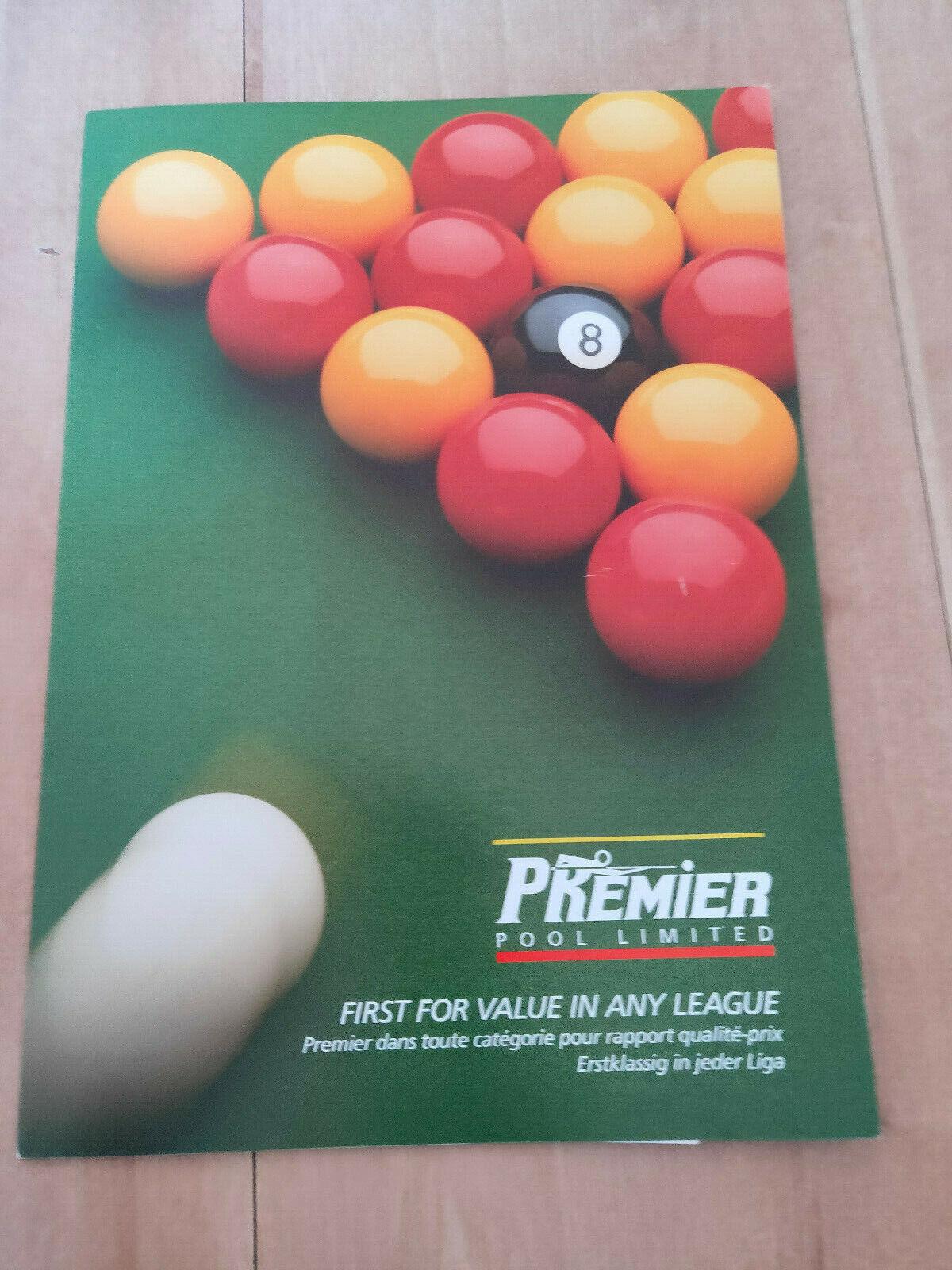 Premier Pool Table Ltd Statesman and Europa Pool Table Sales Catalogue / Brochure